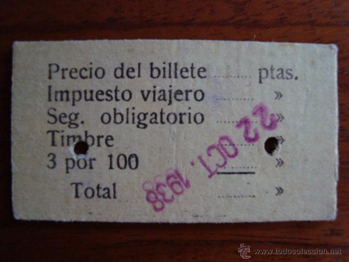Coleccionismo Billetes de transporte: BILLETE TREN PALMA - ARENAL IDA Y VUELTA. OCTUBRE 1938. MALLORCA. - Foto 2 - 48665467
