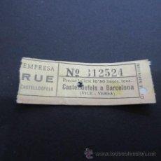 Coleccionismo Billetes de transporte: BILLETE EMPRESA RUE CASTELLDEFELS - CASTELLDEFELS A BARCELONA. Lote 48856494