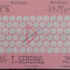 Coleccionismo Billetes de transporte: BILLETE RENFE VALENCIA. Lote 49101106