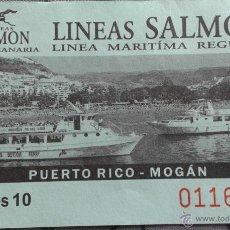 Coleccionismo Billetes de transporte: BILLETE LINEAS MARITIMAS SALMON GRAN CANARIA. Lote 57876714