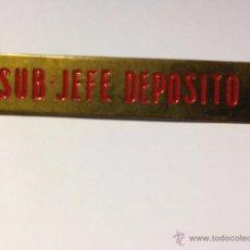 Coleccionismo Billetes de transporte: CHAPA IDENTIFICATIVA DE SUB JEFE DEPOSITO - TRANVIAS DE BARCELONA. Lote 49145909