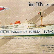 Coleccionismo Billetes de transporte: BILLETE DE PASAJE DE TURISTA EN BARCO TRANSMEDITERRANEA MADRID 1958. Lote 49210618