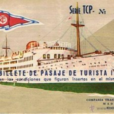 Coleccionismo Billetes de transporte: BILLETE DE PASAJE DE TURISTA EN BARCO TRANSMEDITERRANEA MADRID 1959. Lote 49210688