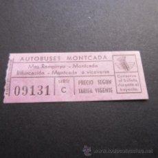 Coleccionismo Billetes de transporte: BILLETE AUTOBUSES MONTCADA. Lote 49486071