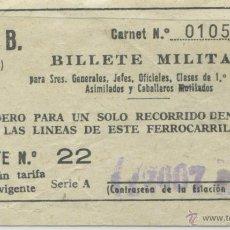 Sammeln von Fahrkarten - BILLETE MILITAR DEL METRO DE BARCELONA // PRECIO SEGUN TARIFA - 49582325