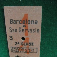 Coleccionismo Billetes de transporte: BILLETE TREN DE CERCANIAS - BARCELONA - SAN GERVASIO. Lote 49635578