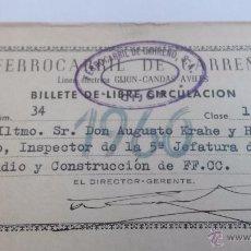 Coleccionismo Billetes de transporte: BILLETE DE LIBRE CIRCULACIÓN FERROCARRIL DE CARREÑO 1ª CLASE. Lote 49672898
