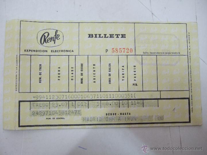 BILLETE TREN - RENFE - MADRID A IRUN - 1972 - VIAJES VINCIT (Coleccionismo - Billetes de Transporte)