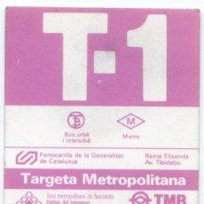 Coleccionismo Billetes de transporte: TARJETA T1 ESPECIAL // BARCELONA. Lote 49861145