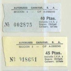 Coleccionismo Billetes de transporte: 5 BILLETES DE AUTOBUSES GARAYAR GUIPUZCOA // AÑOS 80 -90. Lote 50108665