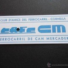 Coleccionismo Billetes de transporte: BILLETE FERROCARRIL DE CAN MERCADER CLUB AMIGOS FERROCARRIL CORNELLA FESTA TRENET 19/10/1997. Lote 50428434