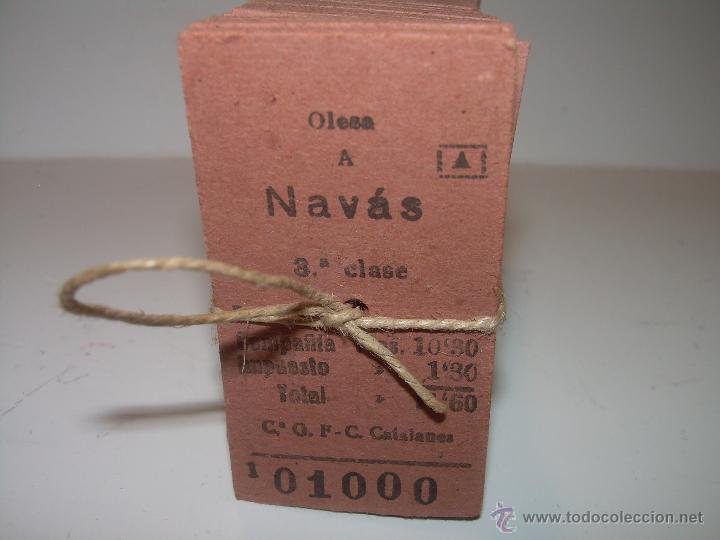 Coleccionismo Billetes de transporte: PAQUETE PRECINTADO CON PLOMO DE 100 BILLETES DE OLESA A NAVAS..........DEL Nº. 1.000 AL 1.099 - Foto 2 - 50647658