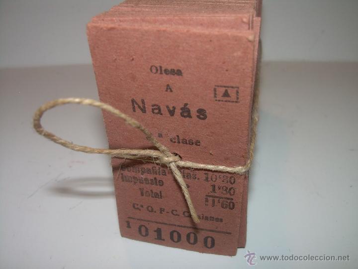 Coleccionismo Billetes de transporte: PAQUETE PRECINTADO CON PLOMO DE 100 BILLETES DE OLESA A NAVAS..........DEL Nº. 1.000 AL 1.099 - Foto 3 - 50647658