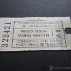 Coleccionismo Billetes de transporte: BILLETE EMPRESA TRANSPORTES URBANOS DE ZARAGOZA. Lote 51071013