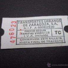 Coleccionismo Billetes de transporte: BILLETE EMPRESA TRANSPORTES URBANOS DE ZARAGOZA. Lote 51092733