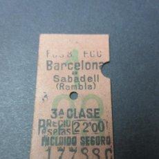 Coleccionismo Billetes de transporte: BILLETE FERROCARRILES CATALANES BARCELONA SABADELL RAMBLA TERCERA CLASE. Lote 51320614