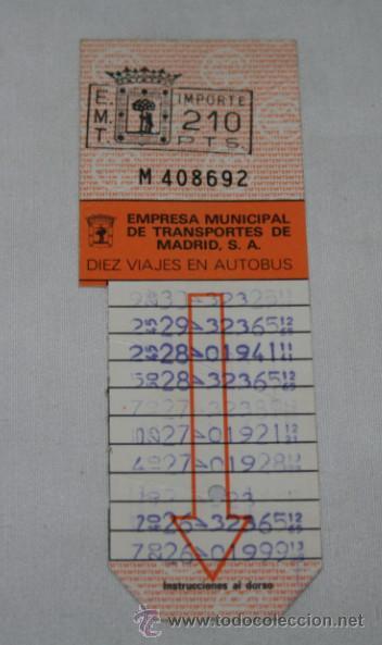 Billete de transporte, bono bus, emt madrid 10 - Sold through Direct