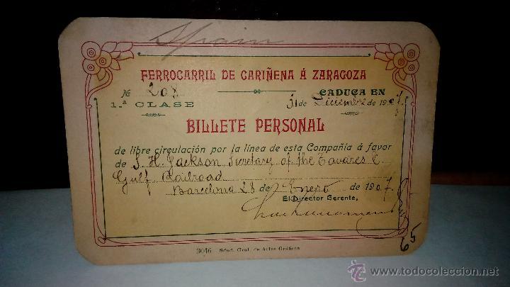 FERROCARRIL CARIÑENA ZARAGOZA. ANTIGUO PASE DE LIBRE CIRCULACIÓN. BILLETE PERSONAL PRIMERA CLASE. (Coleccionismo - Billetes de Transporte)