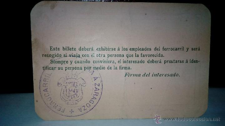 Coleccionismo Billetes de transporte: Ferrocarril Cariñena Zaragoza. antiguo pase de libre circulación. Billete personal primera clase. - Foto 2 - 51531875