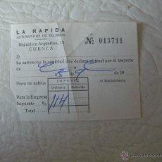 Coleccionismo Billetes de transporte: FACTURA - RESGUARDO ( AUTOMOVILES DE VIAJEROS LA RAPIDA ). Lote 51544468