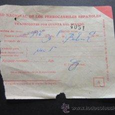Coleccionismo Billetes de transporte: RED NACIONAL FERROCARRILES ESPAÑOLES - 1963 ESTACION BILBAO . Lote 51730672