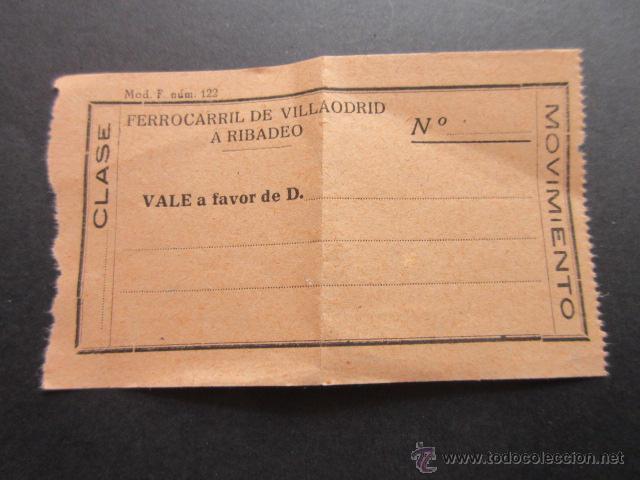 FERROCARRIL DE VILLAODRID A RIBADEO - VALE DE MOVIMIENTO (Coleccionismo - Billetes de Transporte)