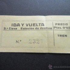 Coleccionismo Billetes de transporte: BILLETE 3ª CLASE IDA/VUELTA. Lote 51730871