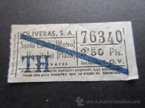 BILLETE EMPRESA OLIVERAS TRAYECTO SANTA EULALIA METRO HOSPITALET BARRADO AZUL (Coleccionismo - Billetes de Transporte)