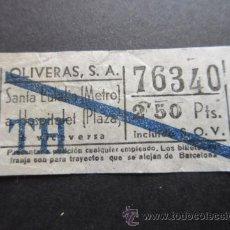 Coleccionismo Billetes de transporte: BILLETE EMPRESA OLIVERAS TRAYECTO SANTA EULALIA METRO HOSPITALET BARRADO AZUL. Lote 51774320