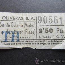 Coleccionismo Billetes de transporte: BILLETE EMPRESA OLIVERAS TRAYECTO SANTA EULALIA METRO HOSPITALET. Lote 51774328