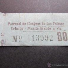 Coleccionismo Billetes de transporte: BILLETE EMPRESA PATRONAL GUAGUAS DE LAS PALMAS CEBRIYN MUELLE GRANDE COLOR AZUL. Lote 51777518