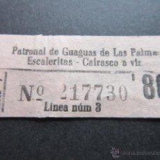 Coleccionismo Billetes de transporte: BILLETE EMPRESA PATRONAL GUAGUAS DE LAS PALMA ESCALERITAS CAIRASCO COLOR ROSA. Lote 51777553