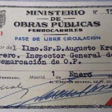 Coleccionismo Billetes de transporte: PASE LIBRE CIRCULACION FERROCARRILES 1961. Lote 51886774