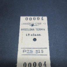 Coleccionismo Billetes de transporte: BILLETE FERROCARRIL 1 CLASE ZARAGOZA BARCELONA TERMIN 1965. Lote 51994938