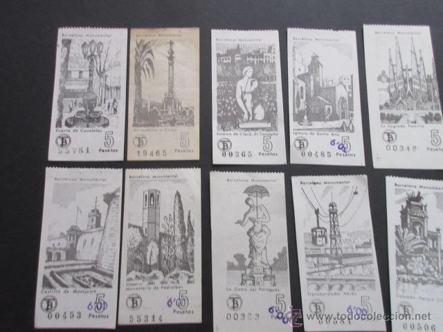 Coleccionismo Billetes de transporte: LOTE DE 24 BILLETES SERIE COMPLETA BARCELONA MONUMENTAL 1973 - 1974 - Foto 5 - 52012884