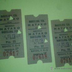 Coleccionismo Billetes de transporte: 3 BILLETES TREN CORRELATIVOS BARCELONA TERMINO - MATARO. IDA Y VUELTA - 4 DE JULIO 1971. Lote 52283107