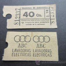 Coleccionismo Billetes de transporte: BILLETE LOS TRANVIAS DE ZARAGOZA. Lote 82346935