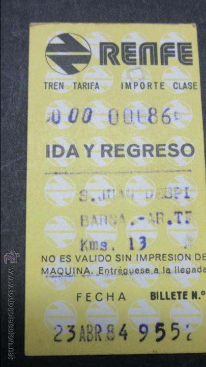 BILLETE HUGIN RENFE MODELO 2 - VER DIFERENCIA ENTRE ELLOS TODOS DIFERENTES- S.JUAN DESPI BARNA ARCO (Coleccionismo - Billetes de Transporte)