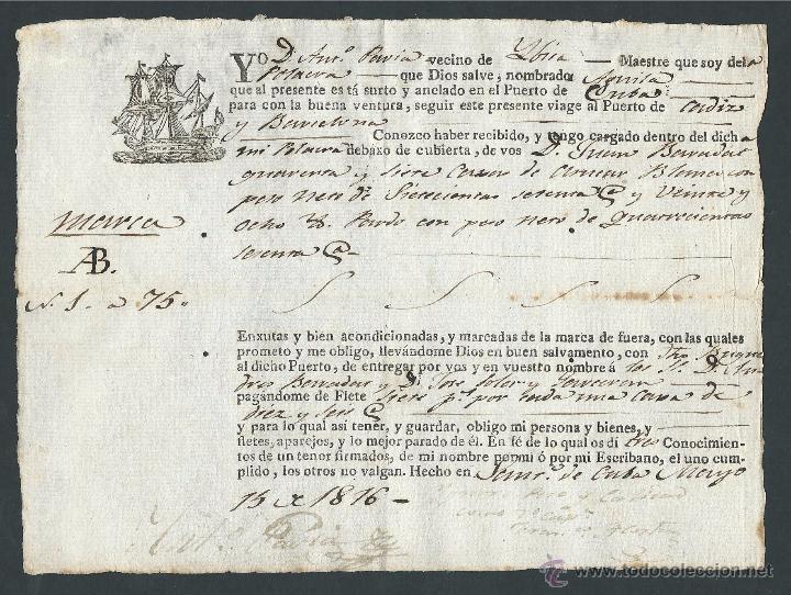 BILLETE POLACRA AGUILA CUBA CADIZ BARCELONA AÑO 1816 MAESTRE ANTONIO PAVIAS CORSARIO DE IBIZA (Coleccionismo - Billetes de Transporte)