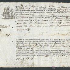 Coleccionismo Billetes de transporte: BILLETE POLACRA AGUILA CUBA CADIZ BARCELONA AÑO 1816 MAESTRE ANTONIO PAVIAS CORSARIO DE IBIZA. Lote 29467751