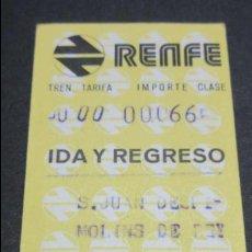 Coleccionismo Billetes de transporte: BILLETE HUGIN RENFE MODELO 2 - VER DIFERENCIA ENTRE ELLOS DIFERENTES- S.JUAN DESPI MOLINS DE REY. Lote 52515206