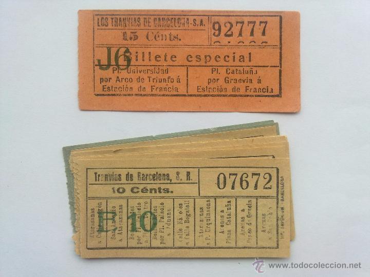 LOTE 10 BILLETES, LOS TRANVIAS DE BARCELONA, CORRELATIVOS Y CAPICUA (Coleccionismo - Billetes de Transporte)