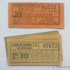 Coleccionismo Billetes de transporte: LOTE 10 BILLETES, LOS TRANVIAS DE BARCELONA, CORRELATIVOS Y CAPICUA. Lote 52627910