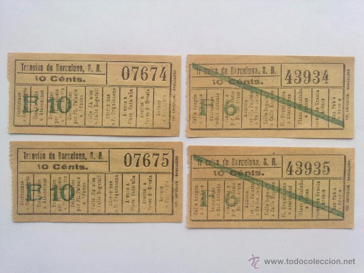 Coleccionismo Billetes de transporte: LOTE 10 BILLETES, LOS TRANVIAS DE BARCELONA, CORRELATIVOS Y CAPICUA - Foto 2 - 52627910