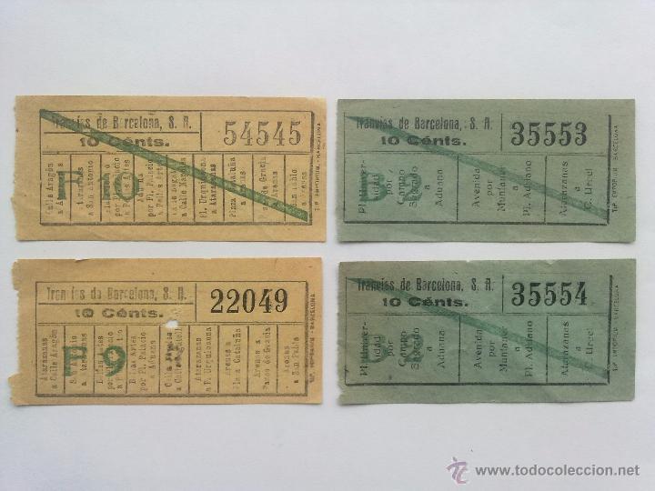 Coleccionismo Billetes de transporte: LOTE 10 BILLETES, LOS TRANVIAS DE BARCELONA, CORRELATIVOS Y CAPICUA - Foto 3 - 52627910