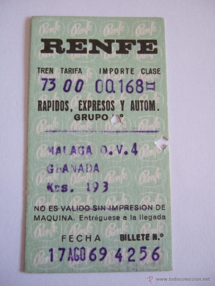 BILLETE TREN - RENFE - MALAGA GRANADA -1969 (Coleccionismo - Billetes de Transporte)
