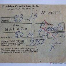 Coleccionismo Billetes de transporte: BILLETE - T. ALSINA GRAELLS SUR S.A. - MALAGA GRANADA - 1963. Lote 52912104