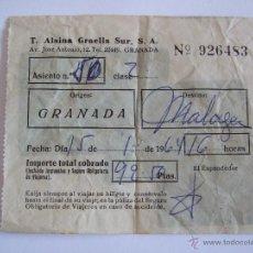 Coleccionismo Billetes de transporte: BILLETE - T. ALSINA GRAELLS SUR S.A. - GRANADA MALAGA - 1963. Lote 52912120