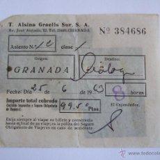Coleccionismo Billetes de transporte: BILLETE - T. ALSINA GRAELLS SUR S.A. - GRANADA MALAGA - 1963. Lote 52912134