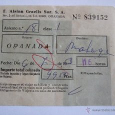 Coleccionismo Billetes de transporte: BILLETE - T. ALSINA GRAELLS SUR S.A. - GRANADA MALAGA - 1963. Lote 52912148
